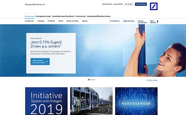 Farbschema für Branding und Website - Beispiel Website in Blau