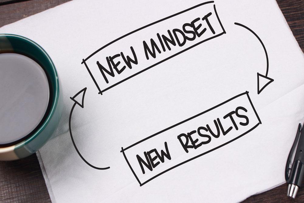 Auf diesem Foto siehst du ein Blatt Papier auf dem Steckt New Mindset, New Results.